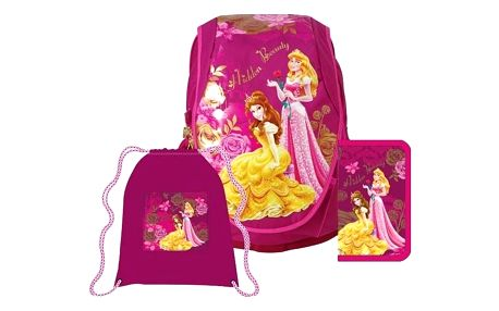 Školní set Sun Ce Disney Princezny - batoh, penál, sáček růžový