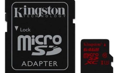 Paměťová karta Kingston 64GB UHS-I U3 (90R/80W) + adapter (SDCA3/64GB)