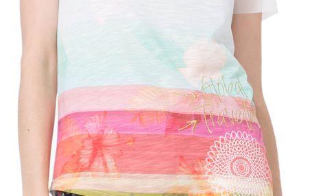 Desigual barevné tričko Asimetric Polynesia