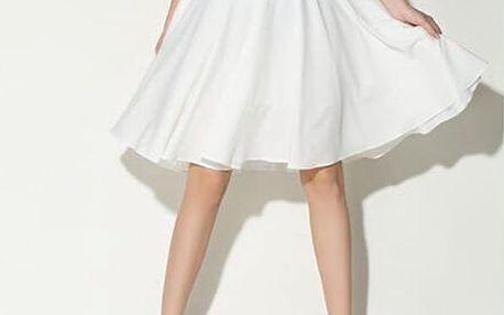 Dámská sukně široká s vysokým pasem - bílá-velikost č. 3