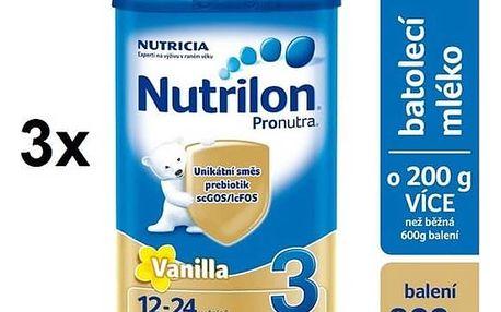Kojenecké mléko Nutrilon 3 Pronutra Vanilka, 800g x 3ks + Doprava zdarma