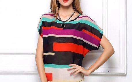 Dámské triko s atraktivním barevným motivem - vel. 7