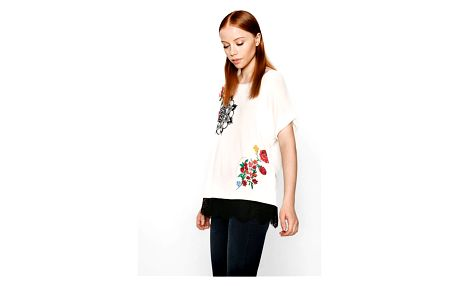 Desigual bílé triko Oporto s krajkou