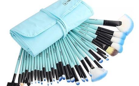 Sada štětců na make-up s pouzdrem - 5 barev