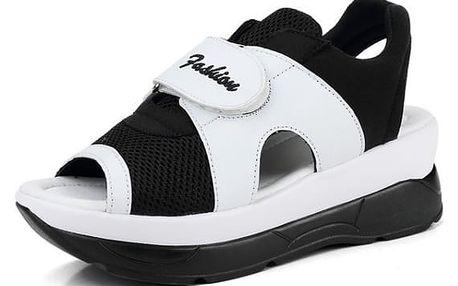 Dámské turistické sandále na suchý zip - černobílá-24 cm (vel. 38)