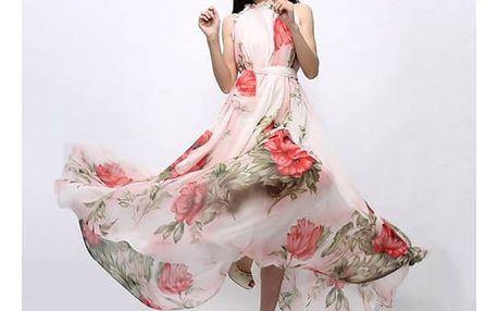 Květované dlouhé šaty na léto - velikost č. 4 - dodání do 2 dnů