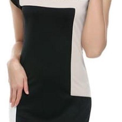 Elegantní dámské šaty s geometrickými vzory - mix barev