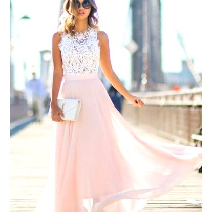 Dlouhé šaty s krajkovým vrškem a růžovou sukní - velikost č. 3