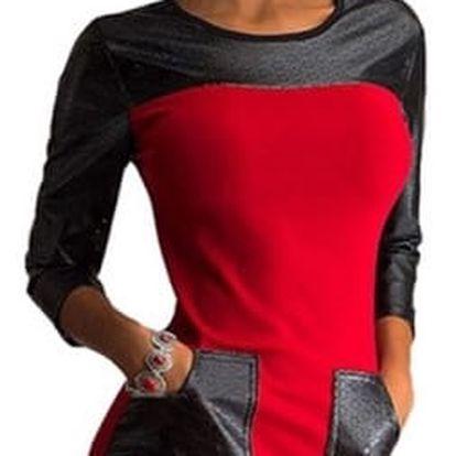 Extravagantní šaty s kapsami - červená, vel. 4