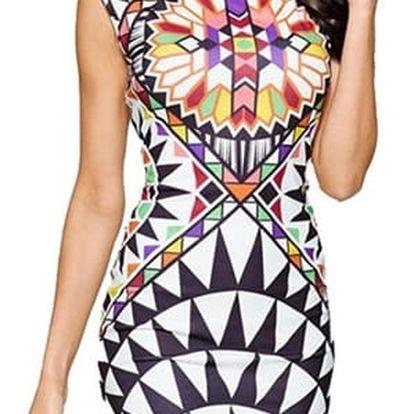 Módní pouzdrové šaty s pestrobarevným potiskem - Varianta 2, velikost 3