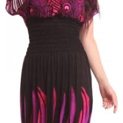 Dámské dlouhé šaty s pavími motivy - barva černá, vel. 7