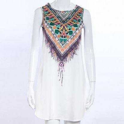 Letní šaty v bohémském stylu - bílé, vel. 4 - dodání do 2 dnů