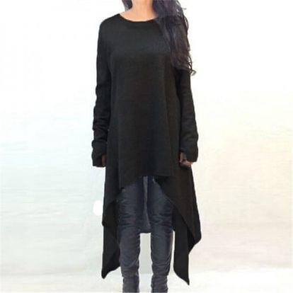 Dlouhý svetr volného střihu - černý, vel. 3