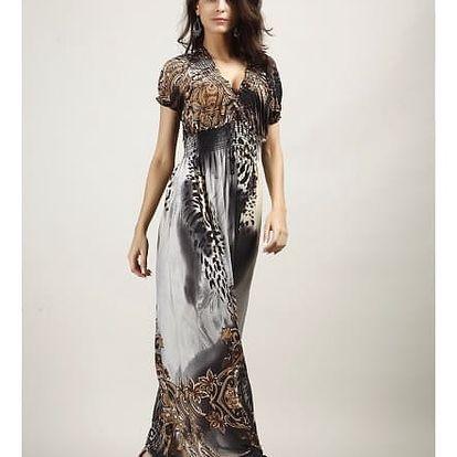 Bohémské dámské šaty s motivem leoparda - šedé, vel. 6