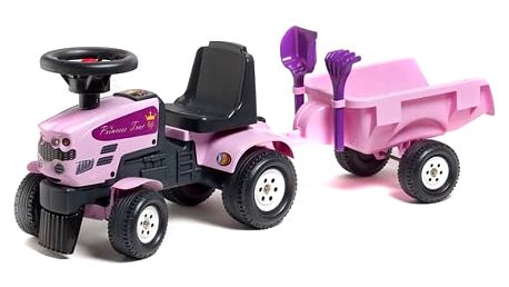 Odrážedlo plastové FALK - traktor Princess s volantem a valníkem plast