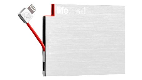 PlusUs LifeCard Ultra-Portable PowerBank 1,500 mAh Fits in card slot Lightning - Silver - LC20011500
