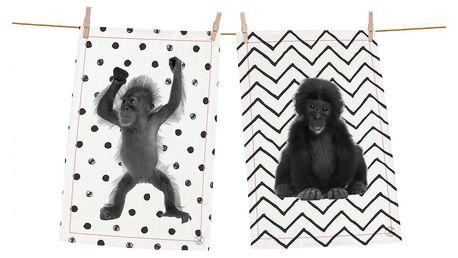 Sada 2 bavlněných utěrek ButterKings Cutest Monkeys