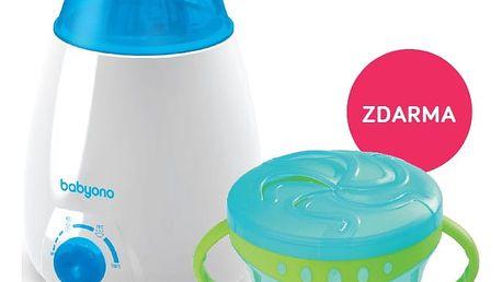 BABY ONO Ohřívač lahví elektrický a miska s ouškami a flexibilním víčkem - modrá