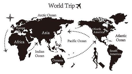Samolepicí dekorace World trip mapa světa