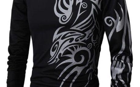 Pánské triko s dlouhým rukávem s ornamenty na rameni a boku - 2 barvy