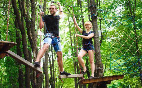 2 hodiny v outdoorovém lanovém parku v Harcově