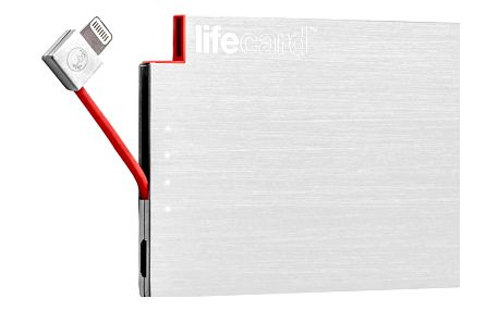 PlusUs LifeCard Ultra-Portable PowerBank 1,500 mAh Fits in card slot Lightning - Silver - LC20011500