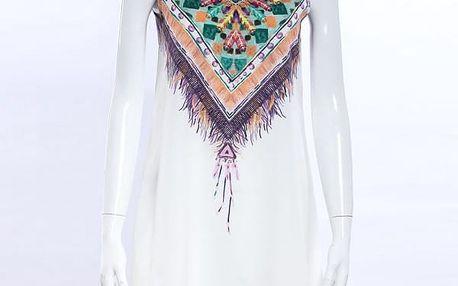 Letní šaty v bohémském stylu - bílé, vel. 4