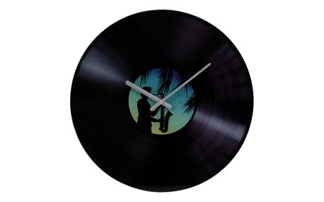 Nástěnné skleněné hodiny Gramofon, modrá