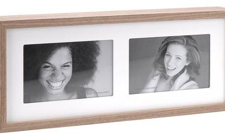 Fotorámeček Wood na 2 fotografie, bílá + hnědá