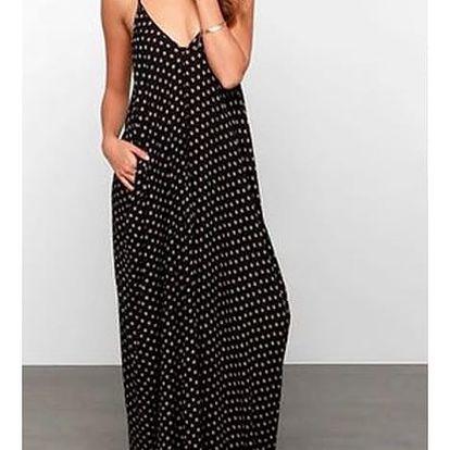 Letní šaty dlouhé - černá barva - velikost 4 - dodání do 2 dnů