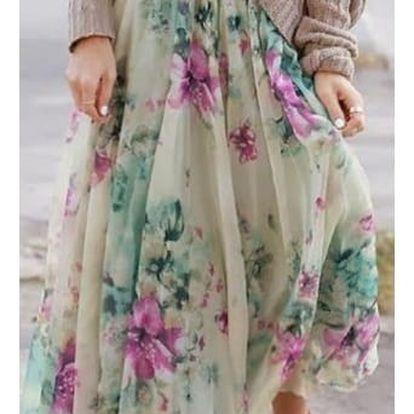 Dámská sukně v květinovém provedení - dlouhá, vel. 4