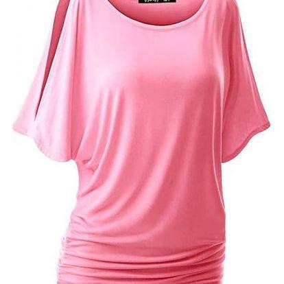Dámské triko s otvory na ramenou v mnoha barvách - Růžová, velikost 6 - dodání do 2 dnů