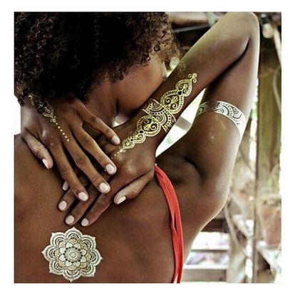 Dočasné letní tetování s ornamenty ve zlaté barvě - dodání do 2 dnů