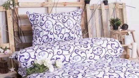 XPOSE ® Prodloužené bavlněné povlečení ELIZABETH - bílo fialová 140x220, 70x90