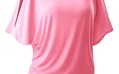 Dámské triko s otvory na ramenou v mnoha barvách - Růžová, velikost 6