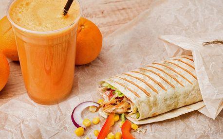 Velký fresh juice a zdravá tortilla pro dva