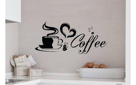 Samolepka na zeď - Šálek kávy v bílé barvě 60 x 25 cm