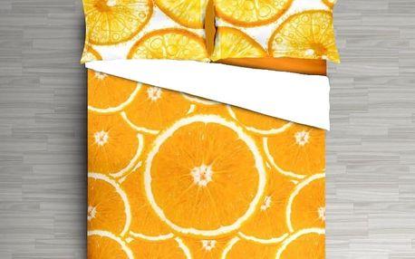 3D italské povlečení 100% bavlna Pomeranč, digitální tisk