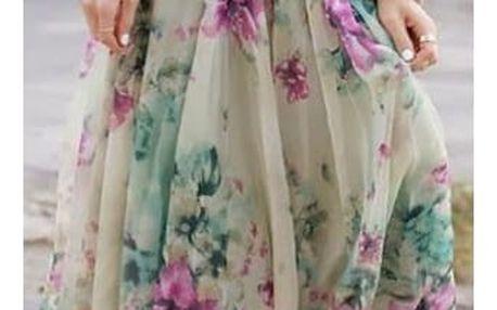 Dámská sukně v květinovém provedení - dlouhá, vel. 5