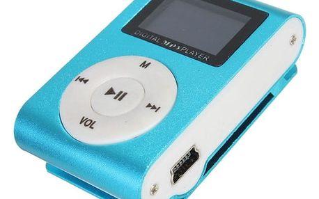 MP3 přehrávač pro paměťové karty s klipem - modrá