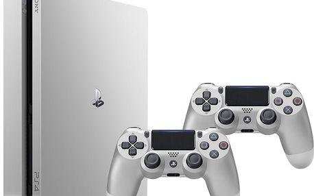 PlayStation 4 Slim, 500GB, stříbrná + 2x DS4 - PS719848769