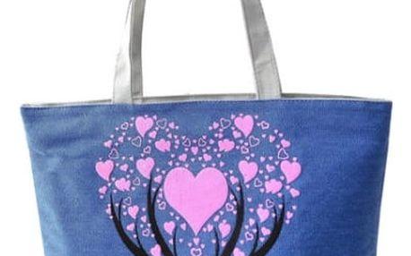 Dámská kabelka se stromem a srdíčky - modrá barva - dodání do 2 dnů