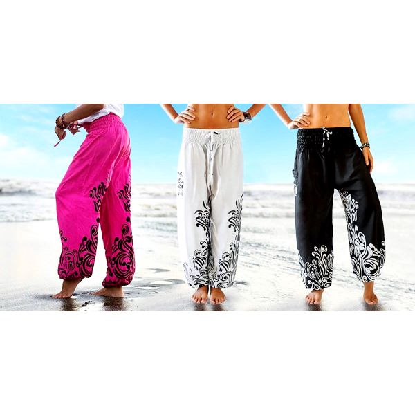 Pohodlné a vzdušné harémové kalhoty z Bali