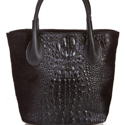 Černá kožená kabelka Massimo Castelli Laurita - doprava zdarma!