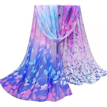 Dámský šátek s motivy duhových lístků - 7 barev
