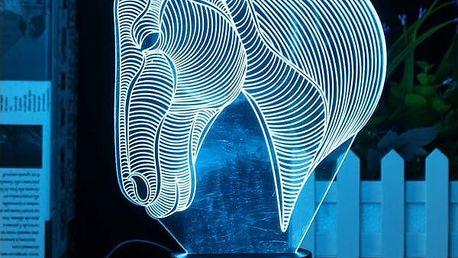 3D LED lampička ve tvaru koňské hlavy