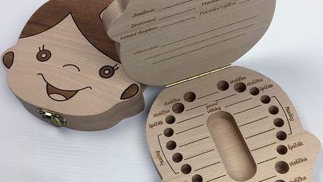 Dřevěná krabička na dětské zoubky s českými nápisy - vyrobeno v ČR - dodání do 2 dnů