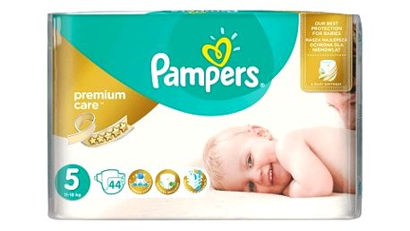 PAMPERS Premium Care 5 JUNIOR 11-18 kg 44 kusů + Dárek PAMPERS Vlhčené ubrousky Sensitive 56 kusů ZDARMA