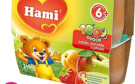 6x HAMI 100 % ovoce jablko, meruňka a jahoda (4 x 100 g) - ovocný příkrm