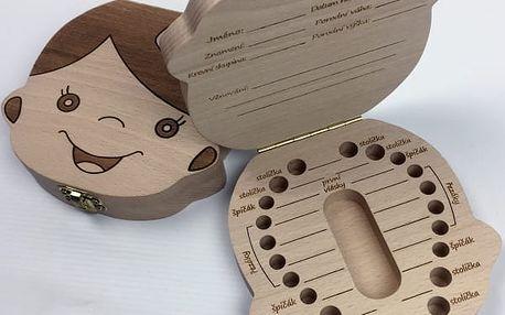 Dřevěná krabička na dětské zoubky s českými nápisy - dodání do 2 dnů